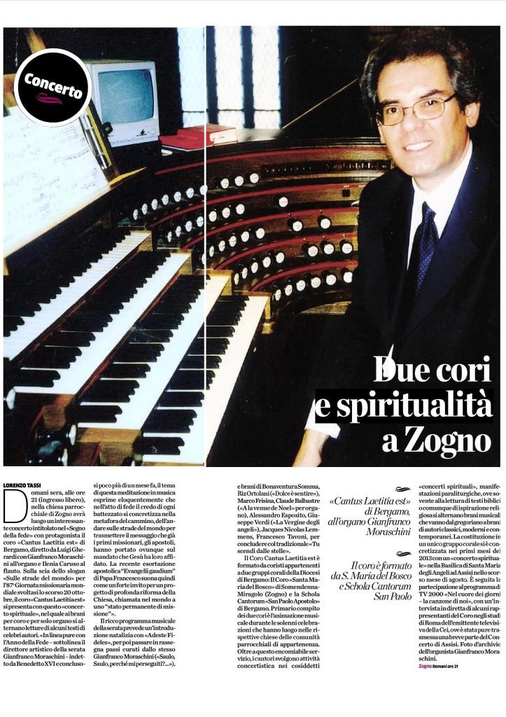Articolo apparso sul quotidiano -L'Eco di Bergamo- di venerdì 27 dicembre 2013