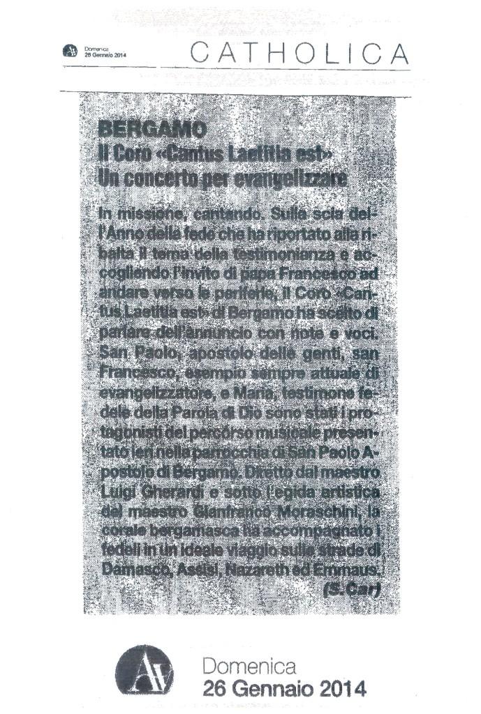 Articolo apparso sul quotidiano -L' Avvenire- di domenica 26 gennaio 2014