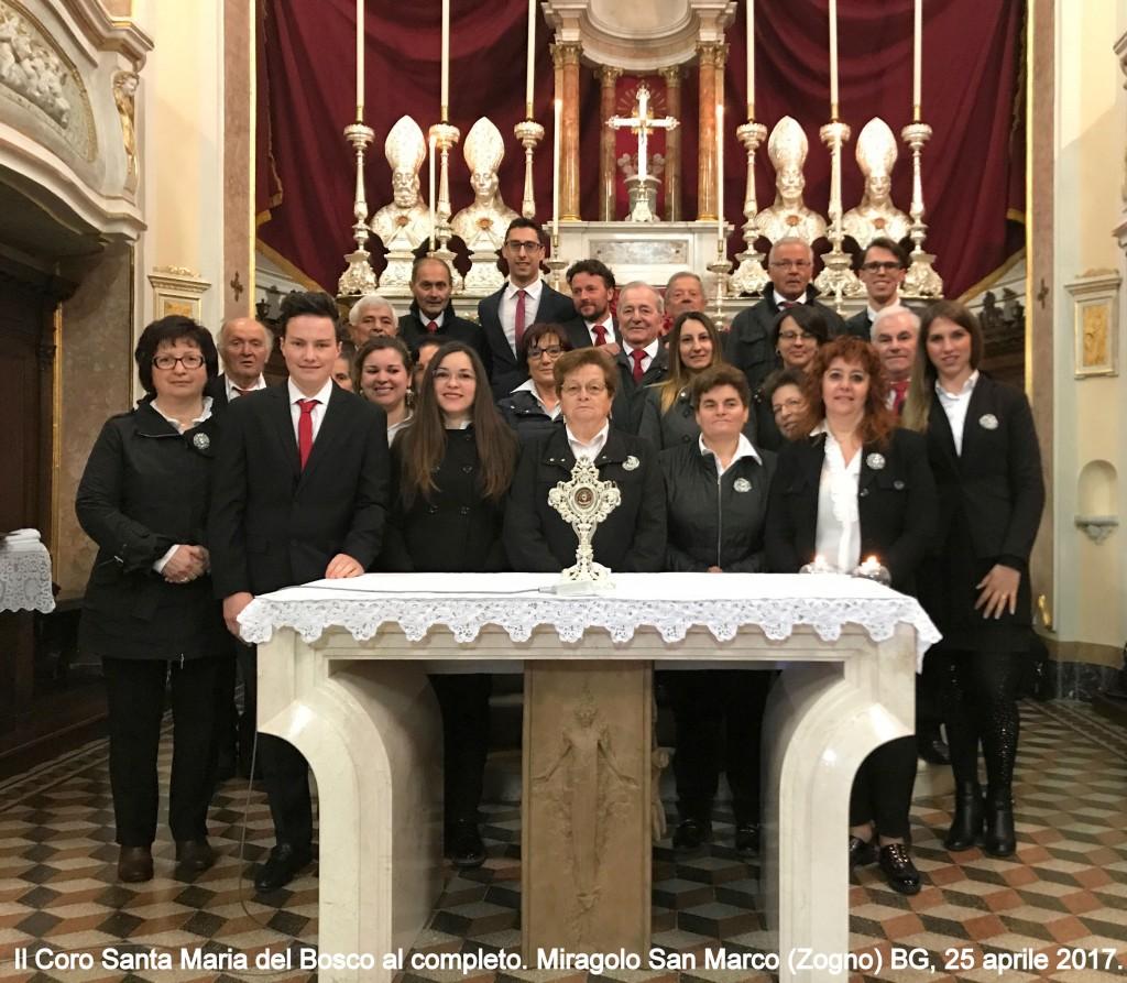 Il Coro Santa Maria del Bosco, in occasione della festa patronale a Miragolo San Marco (Zogno, BG) il 25/04/2017.