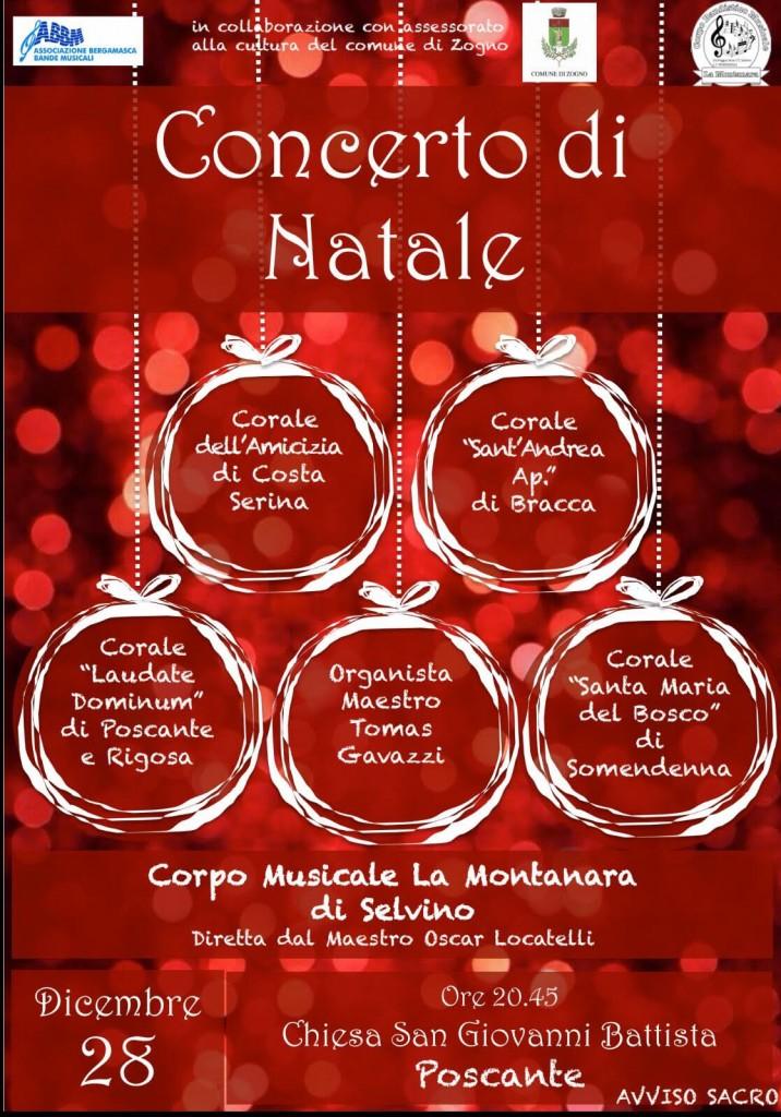 Concerto di Natale a Poscante il 28/12//2017 con 4 cori, organo e banda