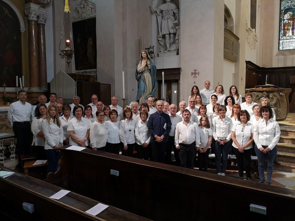 22 settembre 2019, i tre Cori: Sant' Andrea Apostolo di Bracca, Corale Laudate Dominum di Poscante-Rigosa e Coro Santa Maria del Bosco.